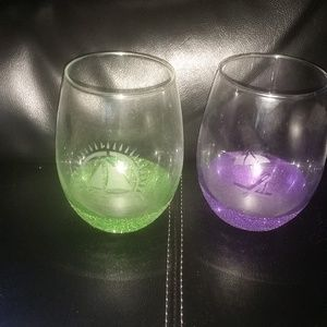 Handmade Etched Beach Stemless Glasses